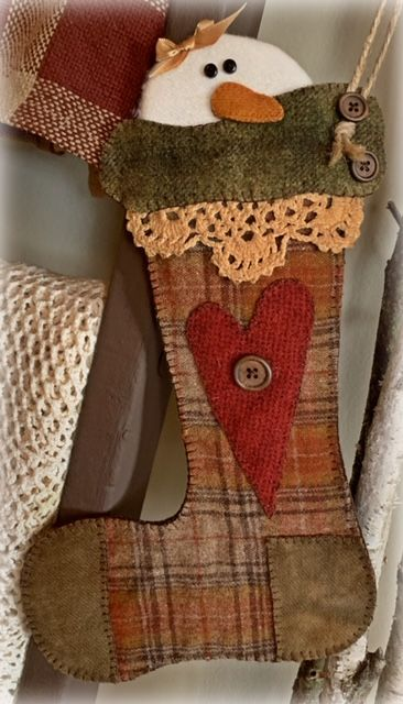 Snowman in stocking 1 - brown and rust